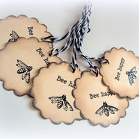 Embossed Bee Happy Gift tags. Set of 5.