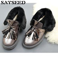 Shoes 2018 New snow boots fur ankle boots Winter Womens Leather Winter Boots Tassel Female Genuine Leather Flat Martin Boots