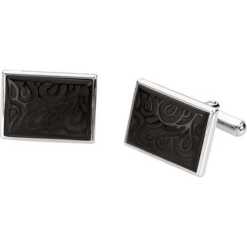 Sterling Silver Carved Black Onyx Cuff Links