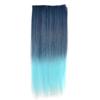 On Sale Hot Deal Beauty Sexy Hot Sale Straight Hair Black Gradient Blue Ladies Wigs Clip Hair Extensions [4923184324]