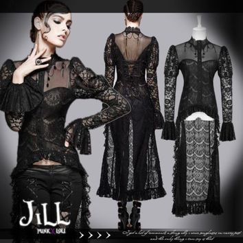 goth victorian Princess diary dryad fairy coattail floral lace knit top y561