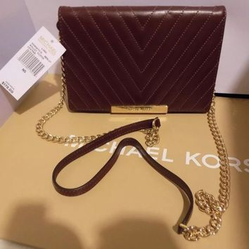 Authentic MICHAEL KORS MK LANA MERLOT Leather Large Crossbody CLUTCH NWT -