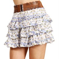 Blue/White Belted Floral Ruffle Skirt