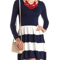 Striped Sweater Knit Skater Dress by Charlotte Russe