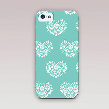 Heart Folk Art Tiffany Blue  Phone Cases For - iPhone 6 Case - iPhone 5 Case - iPhone 4 Case - Samsung S4 Case