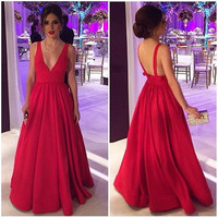 Cheap V Neck Pageant Dresses Sexy Long A Line Prom Dress Hot Red Backless Women Evening Party Gown