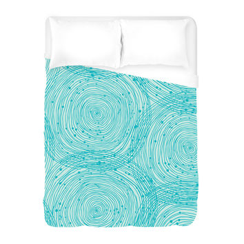 Turquoise Spirals Duvet Cover