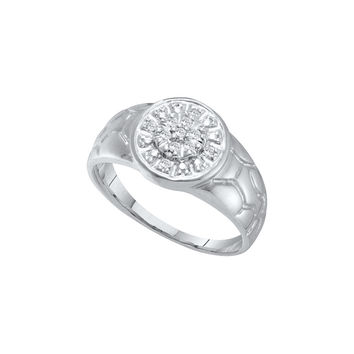 14kt White Gold Mens Round Diamond Cluster Nugget Ring 1/8 Cttw 13101