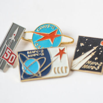 Soviet pins space program Soyuz 11 space station Mars program spaceflight mission space badges set of 4