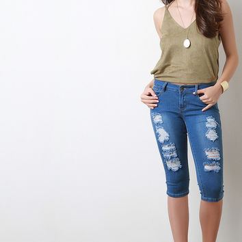 Distress Capri Denim Jeans