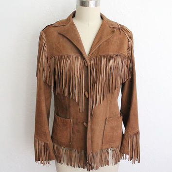 Vintage 60s Brown Leather Fringe Western Jacket // Women's Small Cowgirl Coat