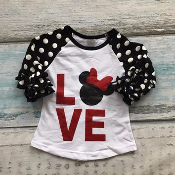 Minnie Mouse Love and Polka Dots Top