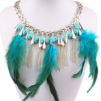 Silver Turquoise Feather And Chain Tassel Necklace