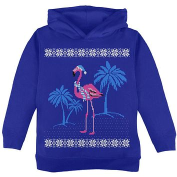 Flamingo Winter Ugly Christmas Sweater Toddler Hoodie