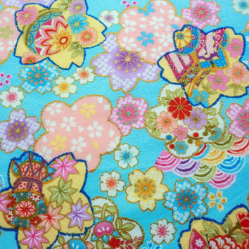 Japanese cotton fabric fat quarter, blue flowers texture, quilt decoration tenugui japanese fabric kawaii fabric,  tenugui fabric