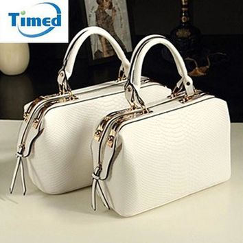 European American Style 2017 New Female Doctor Handbags Crocodile Shoulder Bags Quality Pu Leather Elegant Women Bag Two Size