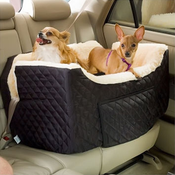 Snoozer Pet Dog Cat Puppy Outdoor Lookout Car UV Secure Safety Travel Seat Large Khaki Quilt