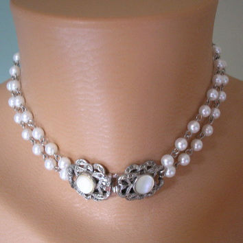 Pearl Bridal Jewelry, Pearl Choker, Wedding Jewelry, Pearl Necklace, Pearl Bridal Set, Gatsby Style, White Pearl Choker