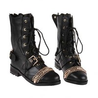 Lace Up Fastening Black Boots [AS1029] - $170.99 :