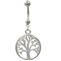 Tree of Life Stainless Steel Belly Button Ring