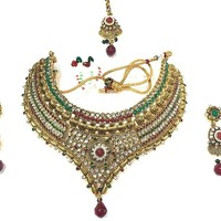 Bollywood Style Beautiful Trendy Red Green White Stone Gold Plated Kundan Polki Necklace Earring Sets