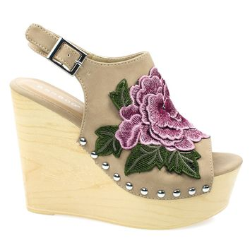 Woobery17 Natural By Bamboo, Large Floral Patch On Wooden Platform Wedge Sandal, Metal Bolted Detail