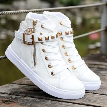 Womens Canvas fashion zipper wedge sneakers high solid color ladies shoes