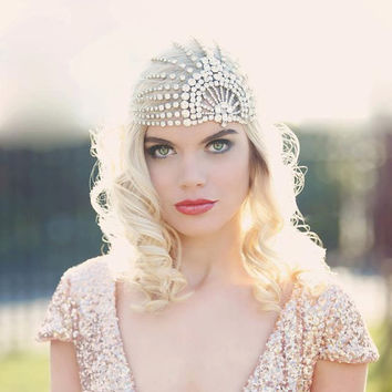 Lujon - Crystal Art Deco 1920's Tulle Headpiece