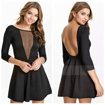 Half Sleeve Backless Mesh Accent Mini Skater Dress