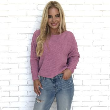 Coco Cable Knit Sweater In Rose