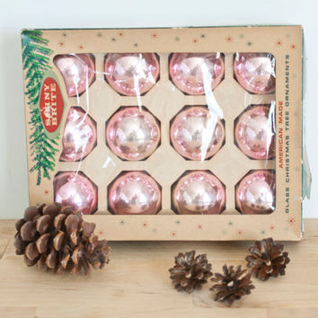 Vintage Soft Pink Shiny Brite Christmas Ornaments with Box, Shinybrite Filler Baubles Bulbs