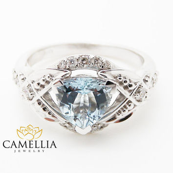 Trillion Aquamarine Engagement Ring Unique Trillion Engagement Ring 14K White Gold Aquamarine Ring