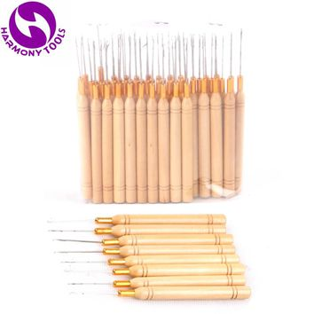 HARMONY 50 Pieces Micro Beads Tubes Micro Rings Hair Extension Tools Wooden handle Hook Pulling Kniting Crochet Needles