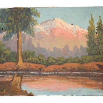 Vintage Mountain Landscape with Trees and Pink Painting