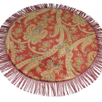 Round Table Topper, Table Centerpiece, Home Decor, Red Table Runner, Red Centerpiece, Round Table Runner, Table Decor, Kravet, Red Decor