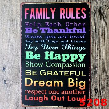 Family Motivation Vintage Style Metal Wall Decor Signs - 9 Designs