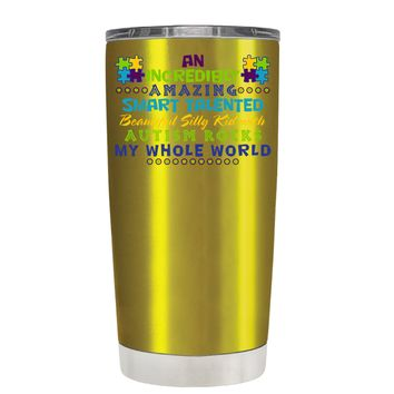 TREK An Amazing Smart Talented Kid with Autism on Translucent Gold 20 oz Tumbler Cup