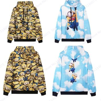 Lovely Flying Minion Skateboarding Hoodies Men Autumn Long Sleeves Hip Hop Sweatshirts Kawaii Minions Tracksuits Hoody Pullovers