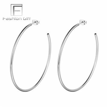 FGgifter 60mm Big Hoop Earrings G23 Titanium Round Circle Silver Color Hoops for Women Earring Jewelry Very Light