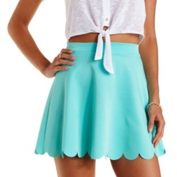 Mint Laser-Cut Scalloped Skater Skirt by Charlotte Russe