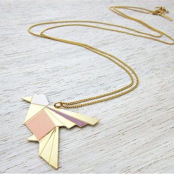 Spring Sale Origami Exotic Bird Necklace in Gold, bird pendant jewelry