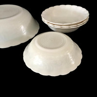 MacBeth Evans Chinex Classic Ivory Five Piece Bowl Set c1938 Embossed Design Pie Crust Edge