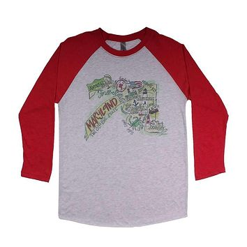 Maryland Roadmap Raglan Tee Shirt in Red by Southern Roots