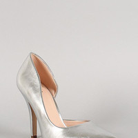 Delicious Metallic Leatherette Pointy Toe Dorsay Pump Color: Silver, Size: 5.5