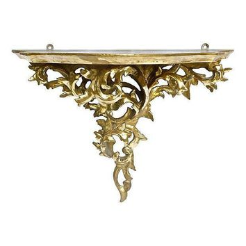 Pre-owned Large Antique Gilt Acanthus Leaf Shelf