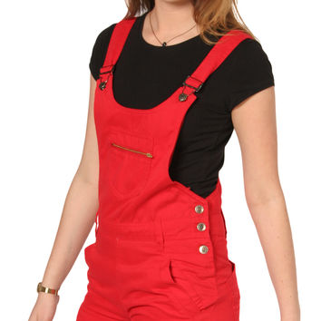 Bib Overalls Online US | Womens Red Bib Overall Shorts | Ladies