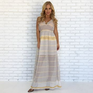 Golden Road Print Maxi Dress