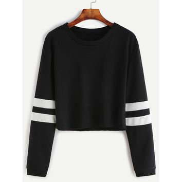 Varsity Striped Sleeve Crop Tee Black