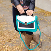 Three Tone Flap Handbag (Teal) - Piace Boutique