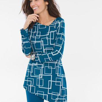 Chico's Square-Print Asymmetrical Top